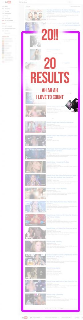 Youtube search results for Mariah Carey