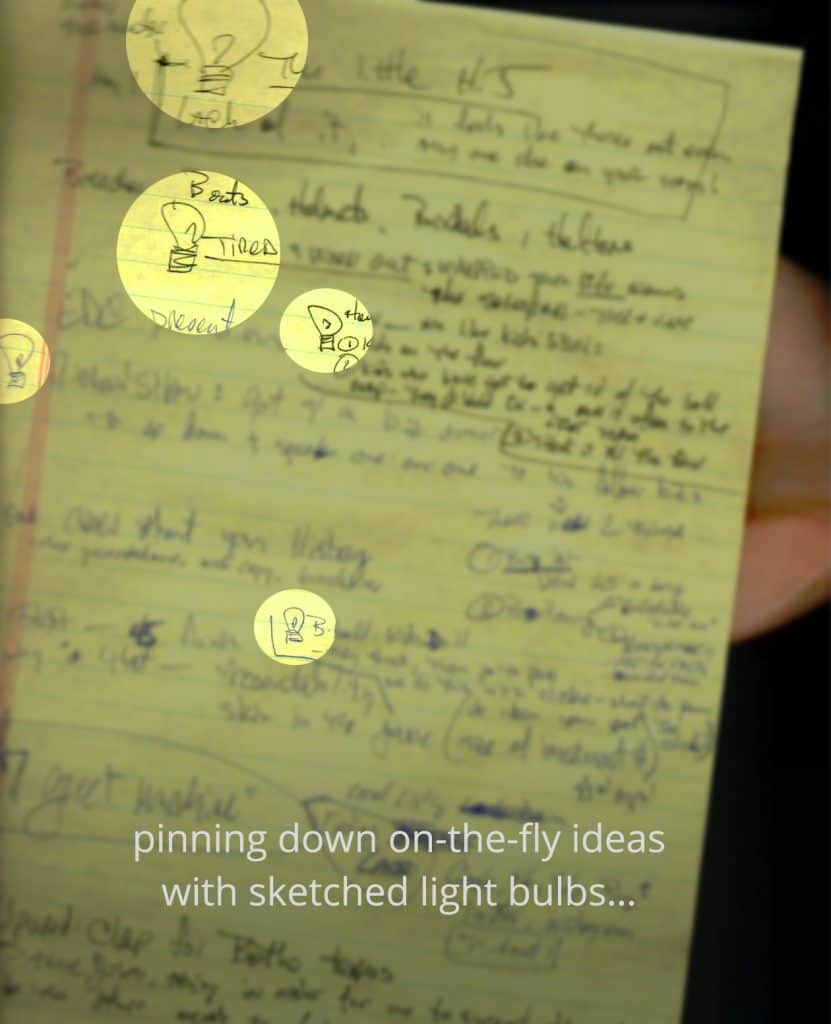Legal pad notes with ideas denoted by lightbulbs
