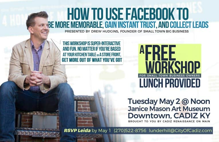 Free Facebook Seminar led by Drew Hudgins of Small Town Big Business